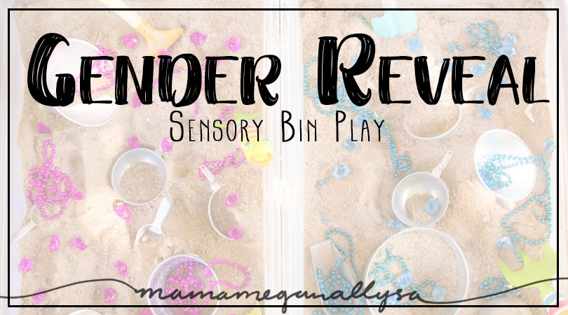 I havn't seen many other gender reveal sensory bin set ups. It was so simple and has lasted long past the party!