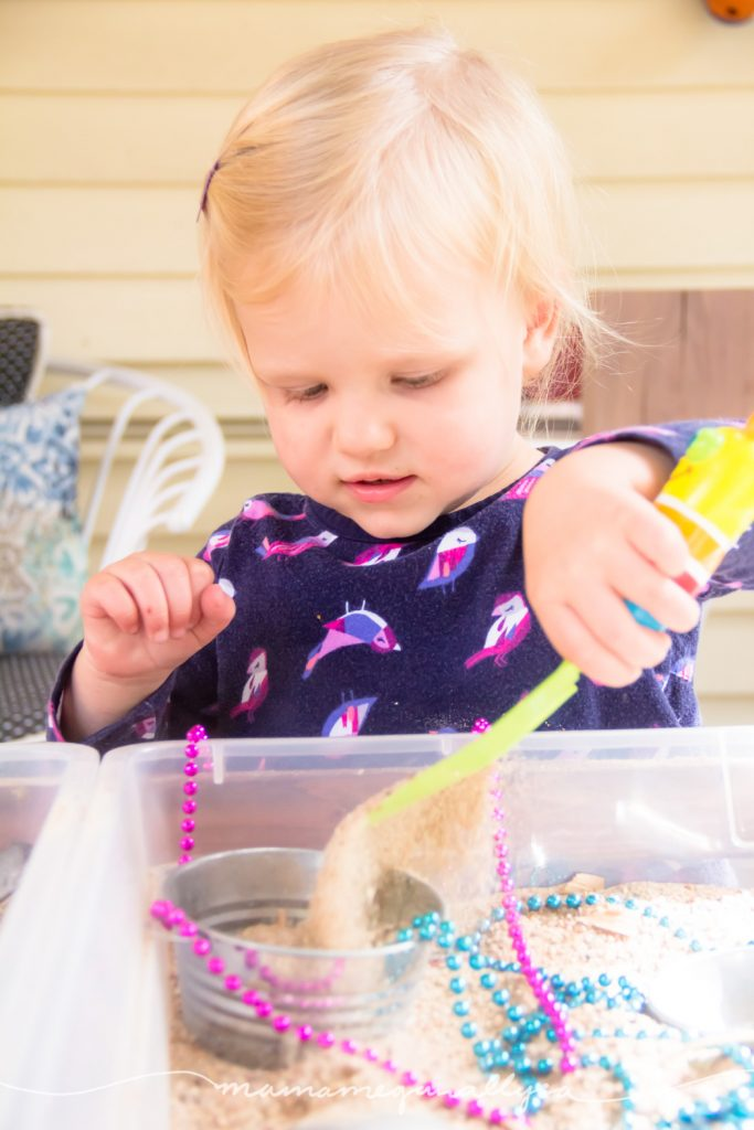 The scoops and shovels you use in a sandbox are great fine motor tools to play with!