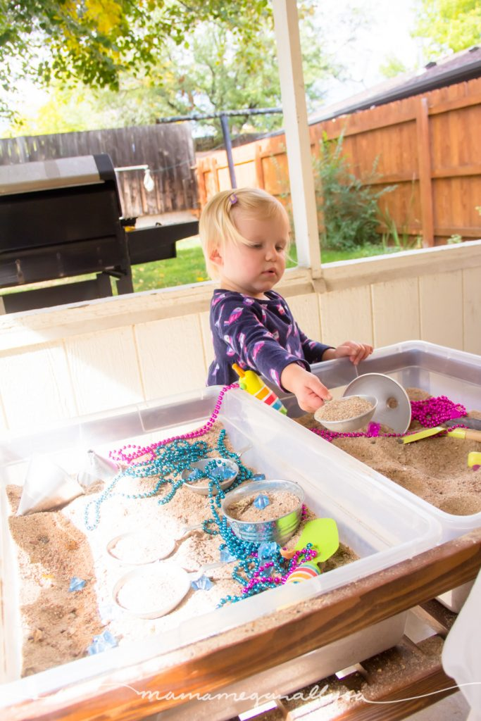 Moving the sand cupcakes from the oven to the counter to cool is great for practicing balance and crossing the midline!