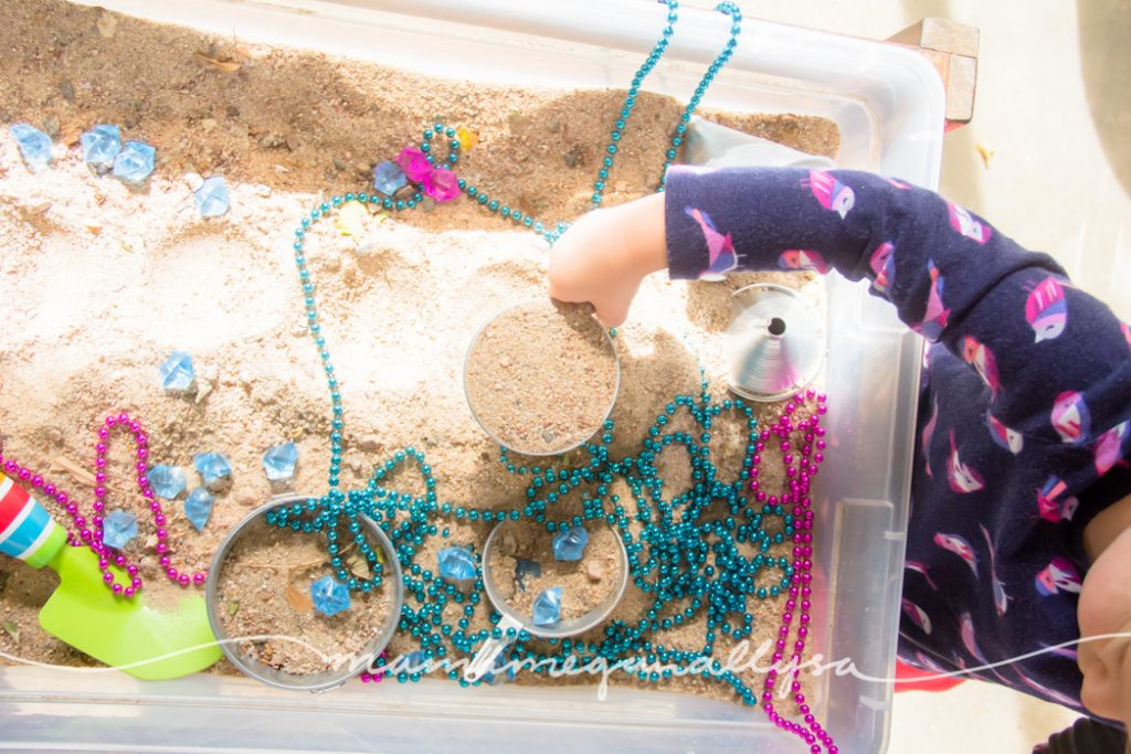 It didn't take too long for the pink and blue to get mixed together in our gender reveal sensory bin.