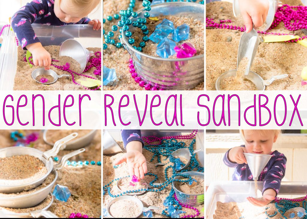 Our Gender Reveal Sensory bin was a great way to add some fun for the littles at our party and it has proven to be fun long after!