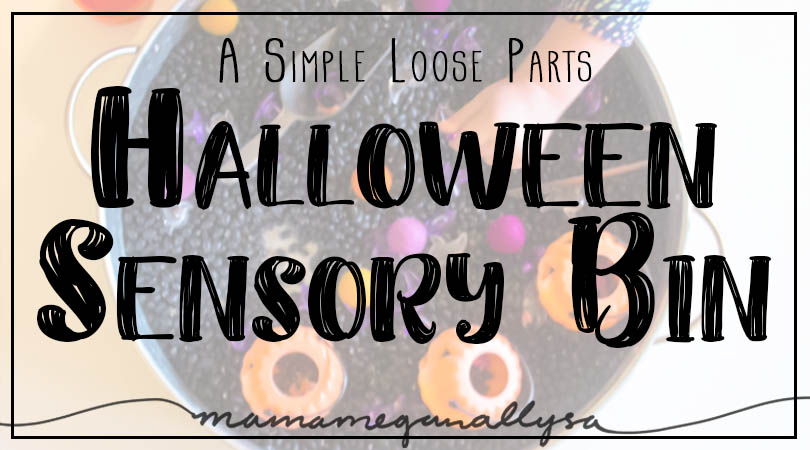 Our Halloween Sensory bin is a simple set up with black beans, orange and purple loose parts and some pumpkin baskets for good measure