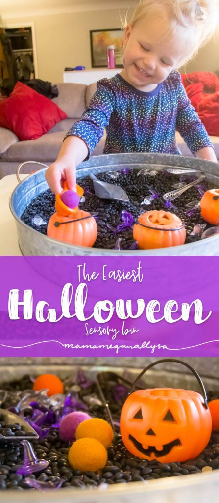 A quick and easy invitation to explore with our Halloween Sensory bin using lots of fun purple and orange loose parts and black beans