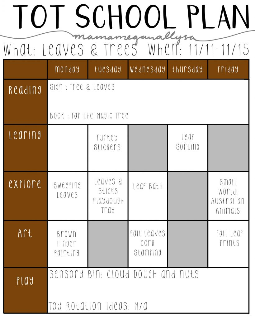 Our November Tot School plans about leaves and trees will use lots of natural treasures like sticks, nuts and leaves for our lessons and crafts