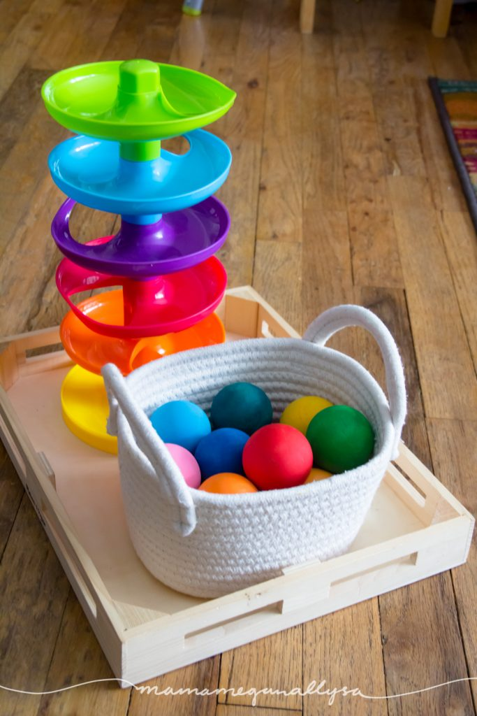Toddlers love a good ball drop or ball tracker!