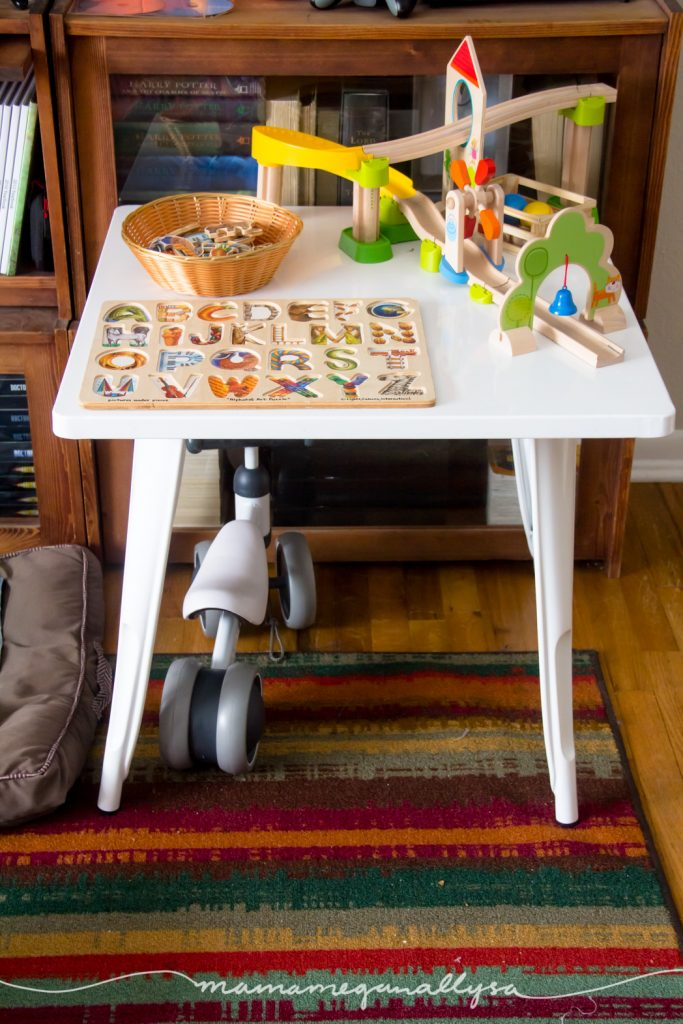 Our Play table holds the free play toys that I know will need rotated out well before the month is over.