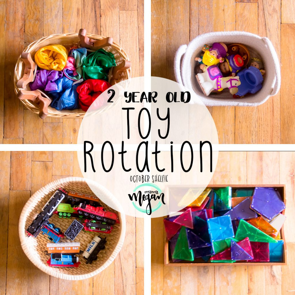 Toddler Toy rotations happen one a month with a mid month refresh for any toys that have gone stale.