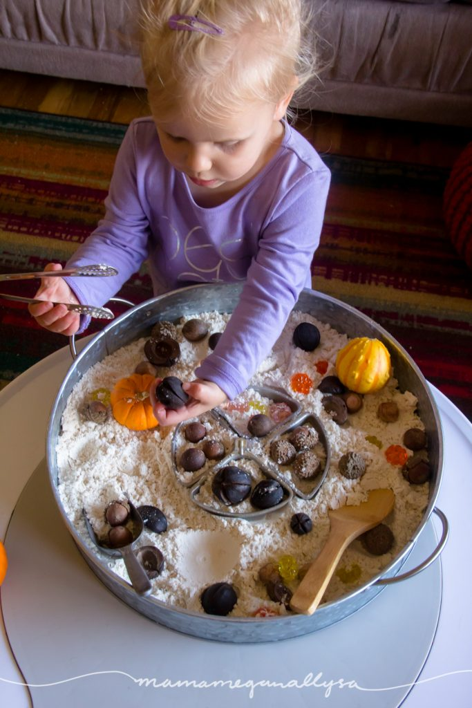 Some fine motor tools like tongs, scoops and spoons make sensory play that much more rewarding!