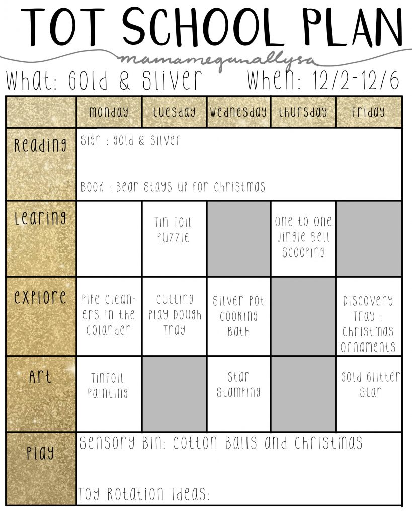 My gold and silver plans have us exploring tinfoil and glitter, practicing with scissors and cooking in silver pots