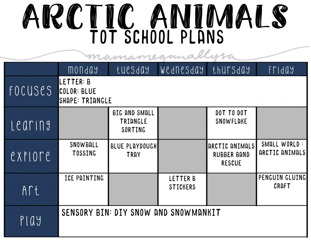 our Arctic animals tot school plans will cover penguins, and polar bears as well as more fun with snow and ice