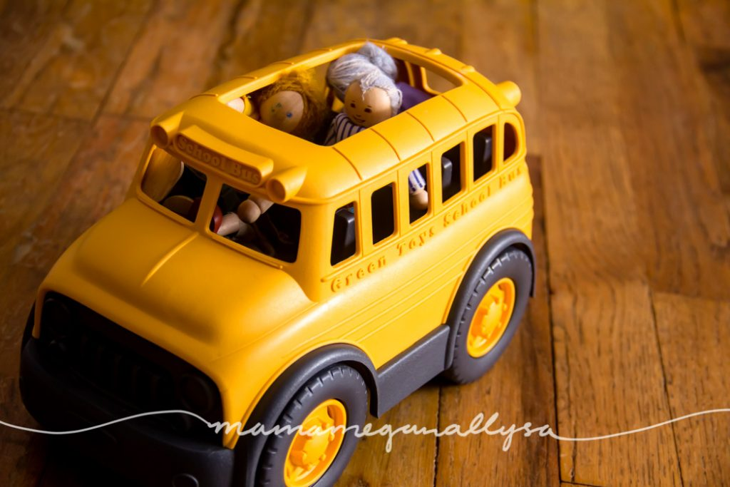 """the green toys bus is sturdy and a good size and also has an open roof for """"passengers"""" to hop in"""