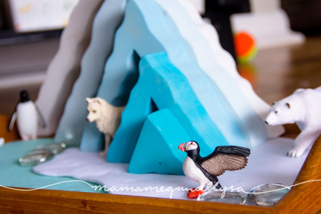 Arctic animals hanging around an ice-burg in our small world set up