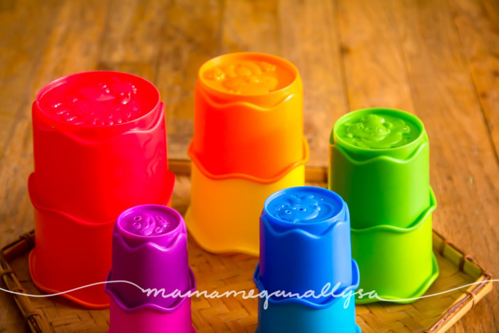 Stacking and nesting cups are such a great toy for toddlers to work on size and balance!