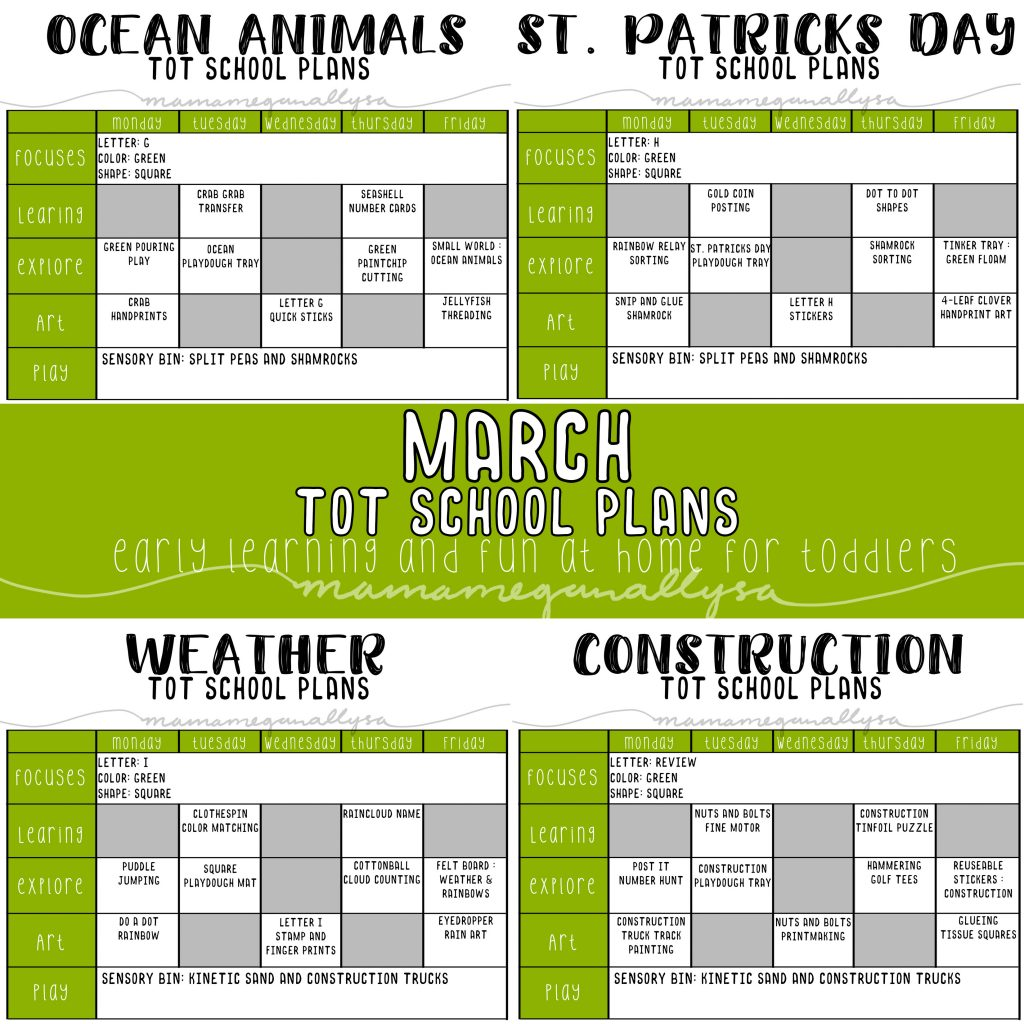 For our March tot School we will be playing with some ocean animals, doing some fun St. Patrick's Day crafts, talking about the weather and learning about construction tools.