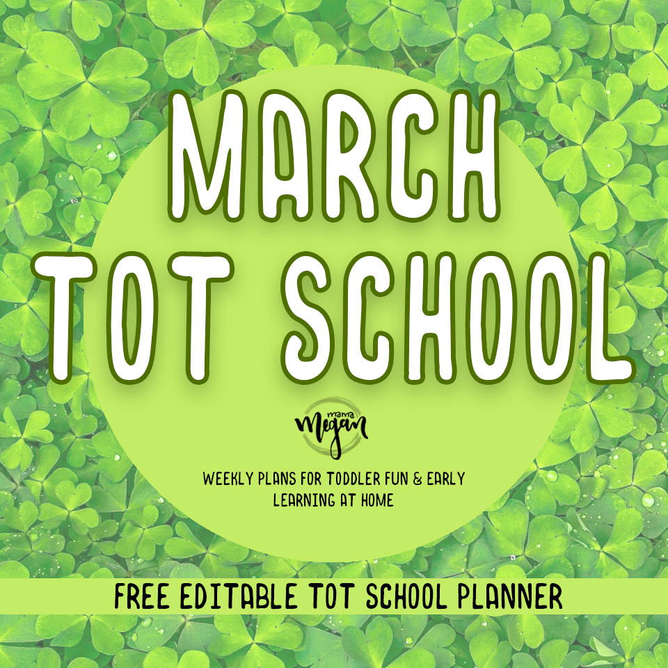 Our March Tot School plans are full of the color green, squares, counting, and some letter work and plenty of painting. Most importantly full of lots of creative free play.