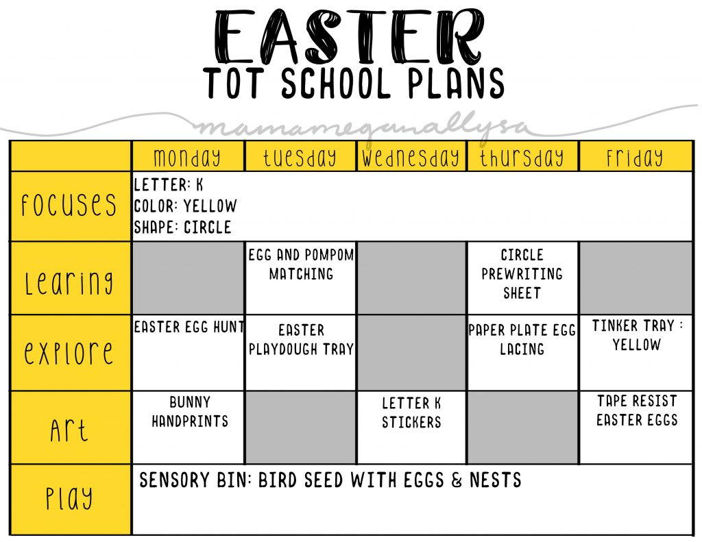 April Tot School plans wouldn't be complete with out some fun Easter crafts and activities!