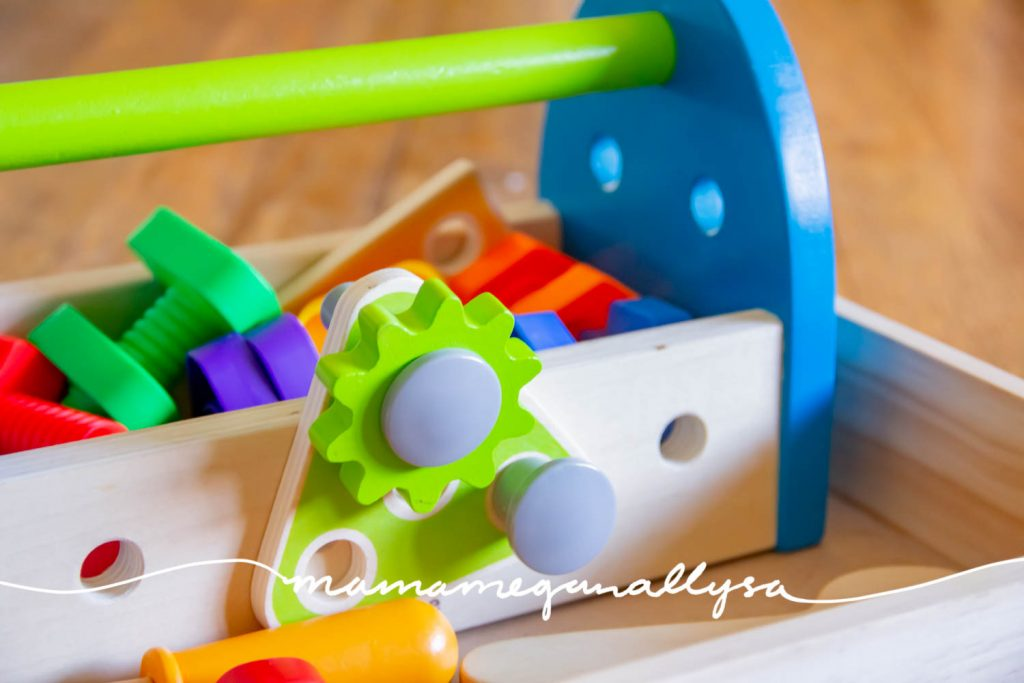 """Our play tool set has seen lots of action lately so we can """"fix"""" all the furniture in the house."""