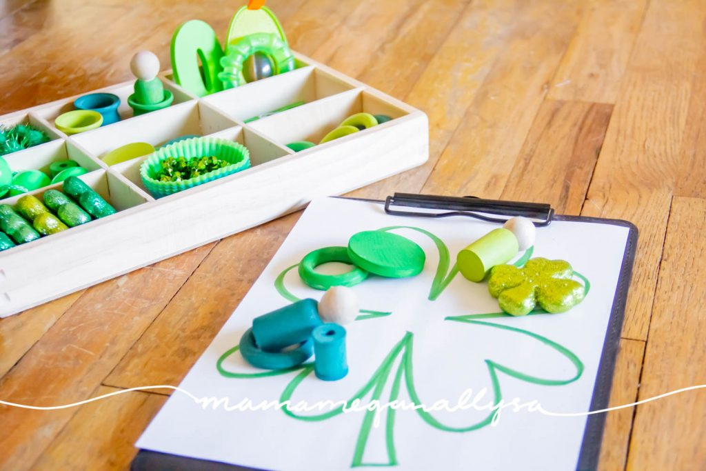 Lots of green loose parts and a large shamrock to add to the play