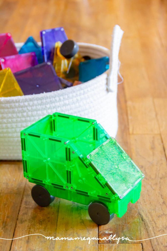 I built a green magnatile car to inspire and stay with our St. Patrick's Day theme