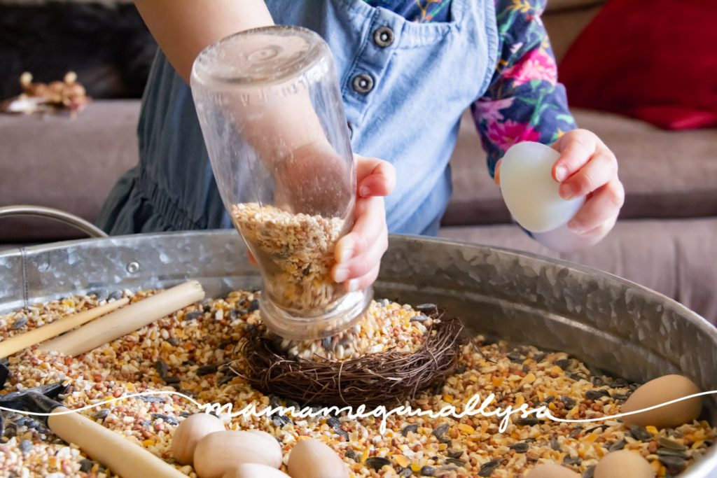 The addition of the milk bottle allows for practice filling and dumping as well as imaginative play
