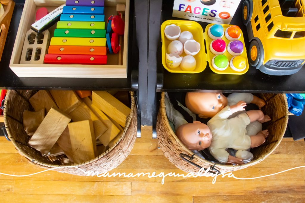 We rotated in some classic wooden blocks this month and of course we have our ever present baby dolls as well.