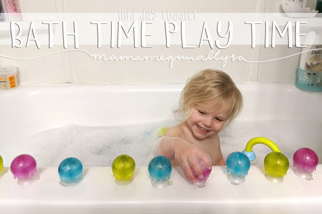 daytime bath play is one of my favorite low prep toddler activities! so simple but so much fun!