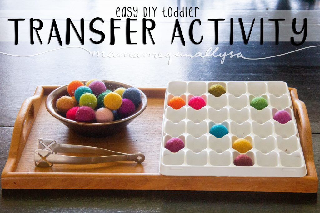 Transfer work is a favorite of younger toddlers  and great for developing the muscles in their hands! Pom pom tongs and bowls make for and easy DIY set up