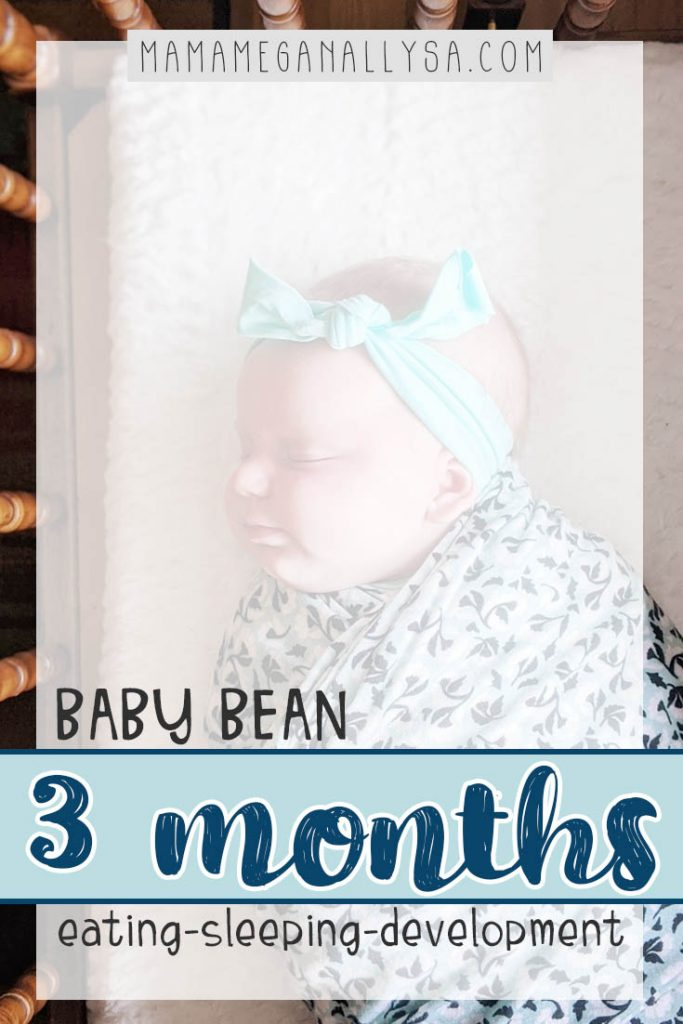 Baby Bean's 0-3 month baby update will cover how she is eating and sleeping as well as what kind of growth and developments she has had over the first three months of her life!