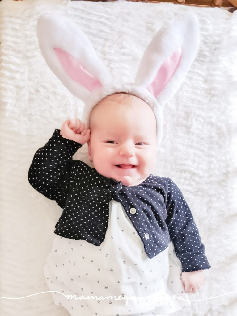 Sweet baby Bean on Easter with her little bunny ears to celebrate!