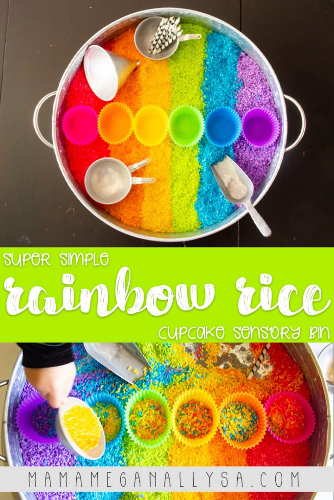 When white rice is boring use the ultimate mom hack and make rainbow rice for sensory play