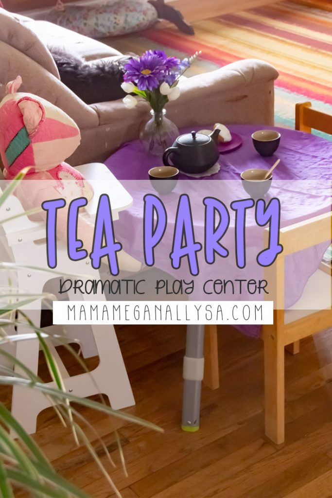 A fancy tea party seemed just right for a princess toy rotation. and what fancy tea party is complete without a silk tablecloth, flowers and doilies?!