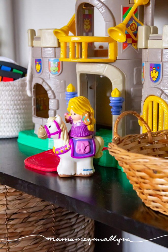 Rapunzel was the first princess we introduced to Bitty and so when she got her vintage fisher price little people castle last year we knew that Rapunzel needed to be there.
