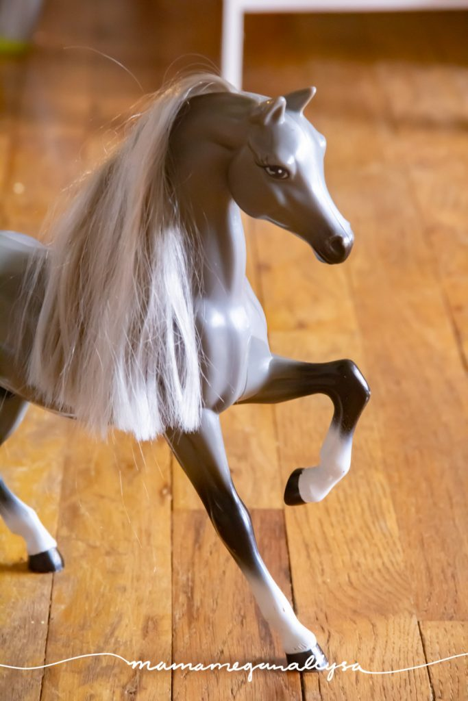 What princess toy rotation would be complete without her faithful horse. Ours is silver and grey and her name is Misty