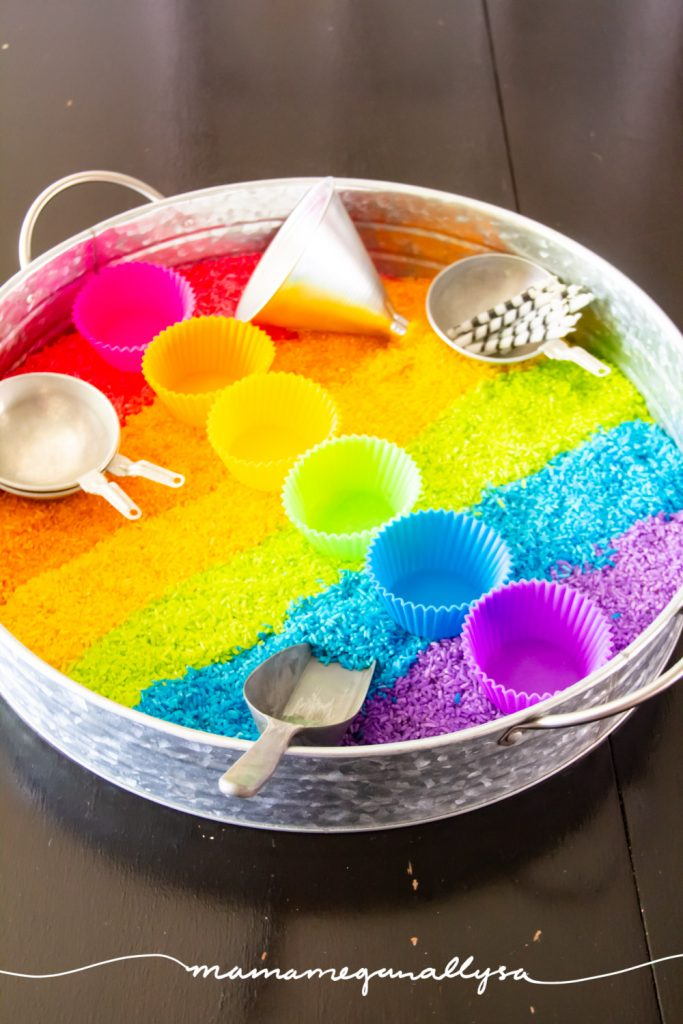 my Rainbow Rice cupcake sensory bin has everything you need, from cupcake liners to candles to a funnel and scoop. The bakery is open!