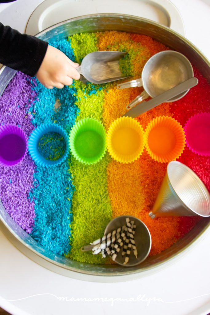 Rainbow Rice is a classic sensory bin filler and is so easy to customize to your themes!