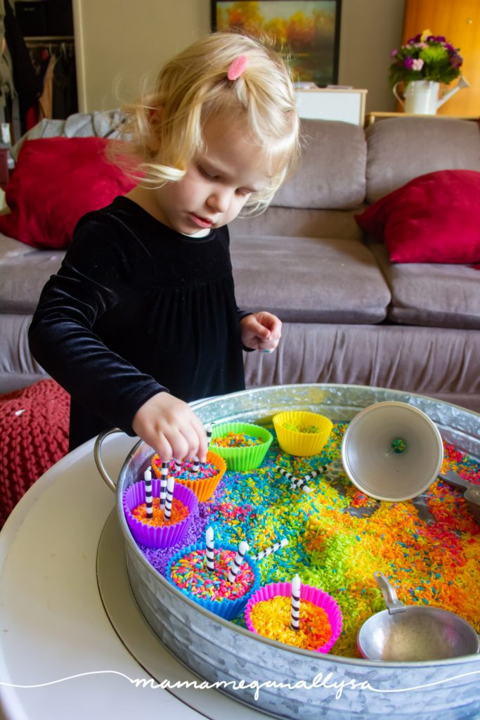 Candles are a great addition to a cupcake sensory bin! They promote fine motor work as well as an invitation to count