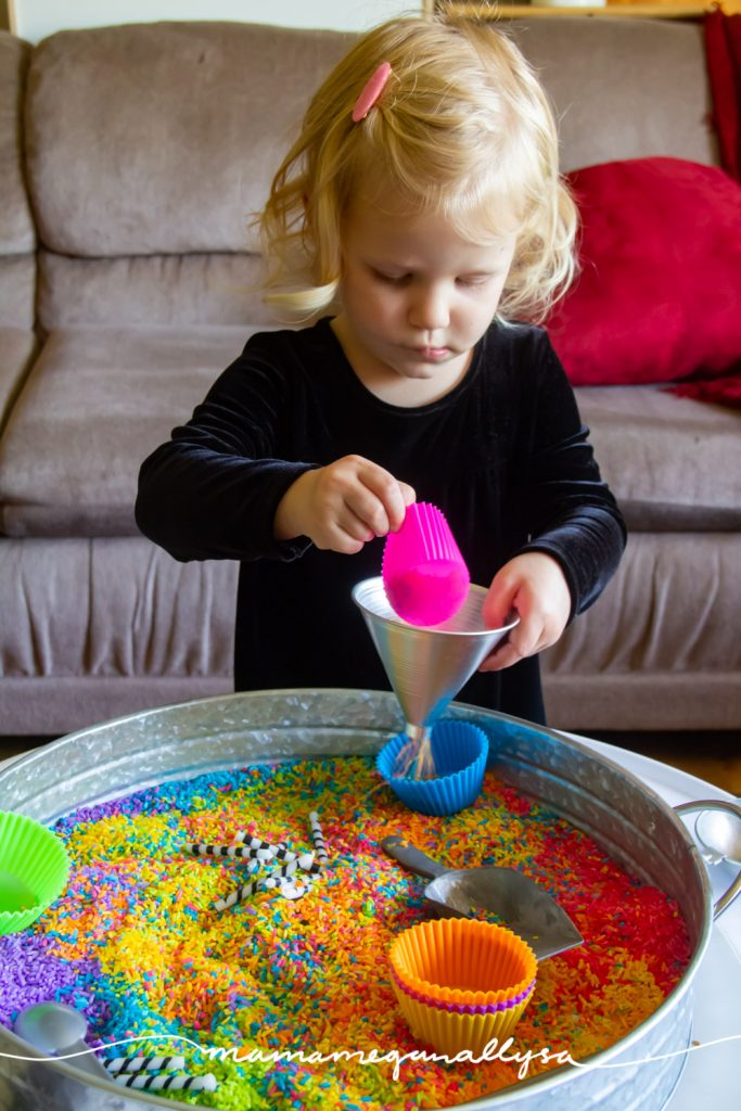 Funnels and sensory bins go together like PB & J