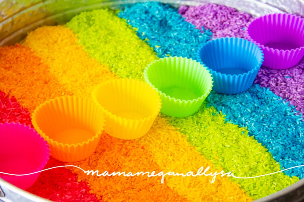 Rainbow rice is super simple to make and you can customize it to fit most any range of colors. We went for a neon rainbow and its so bright and colorful!