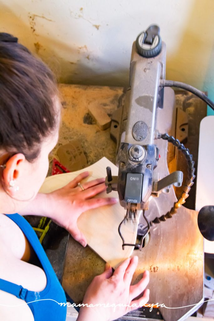 A scroll saw is a super small blade that allows for tighter turns in your woodworking