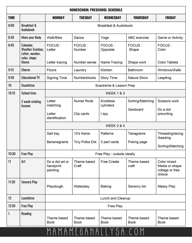 Use this FREE daily schedule to keep everyone on track and get your preschooler's mind and body busy and learning! #preschool #homeschool #preschoolschedule