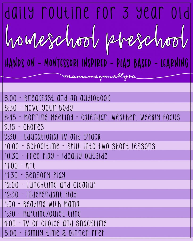 We are starting the journey of homeschooling this year and I want to make sure that our preschool lessons are hands-on play-based Montessori inspired learning fun for my 3-year-old. I created a daily routine that covered all those bases and will hopefully keep her learning and having fun all year! Download my FREE editable preschool daily routine here! #preschool #homeschool #preschoolschedule
