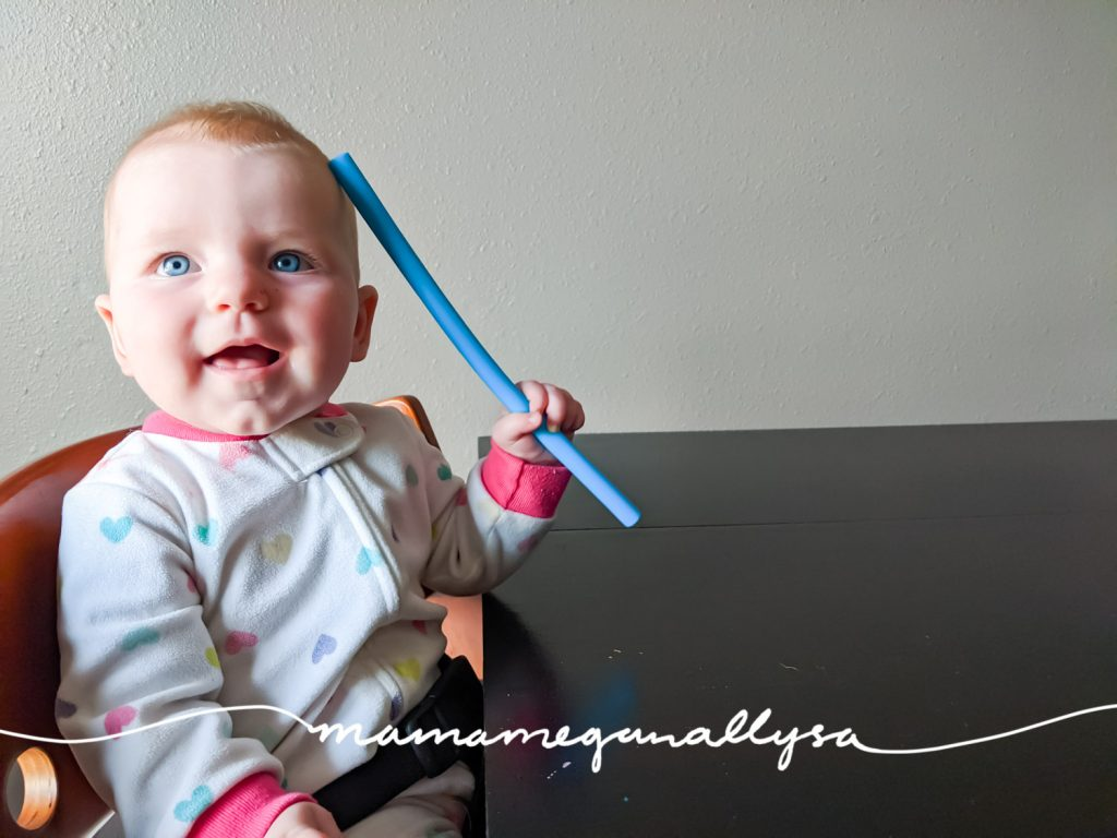 Silicone straws make great teething toys for your 3 -6 month playtime!