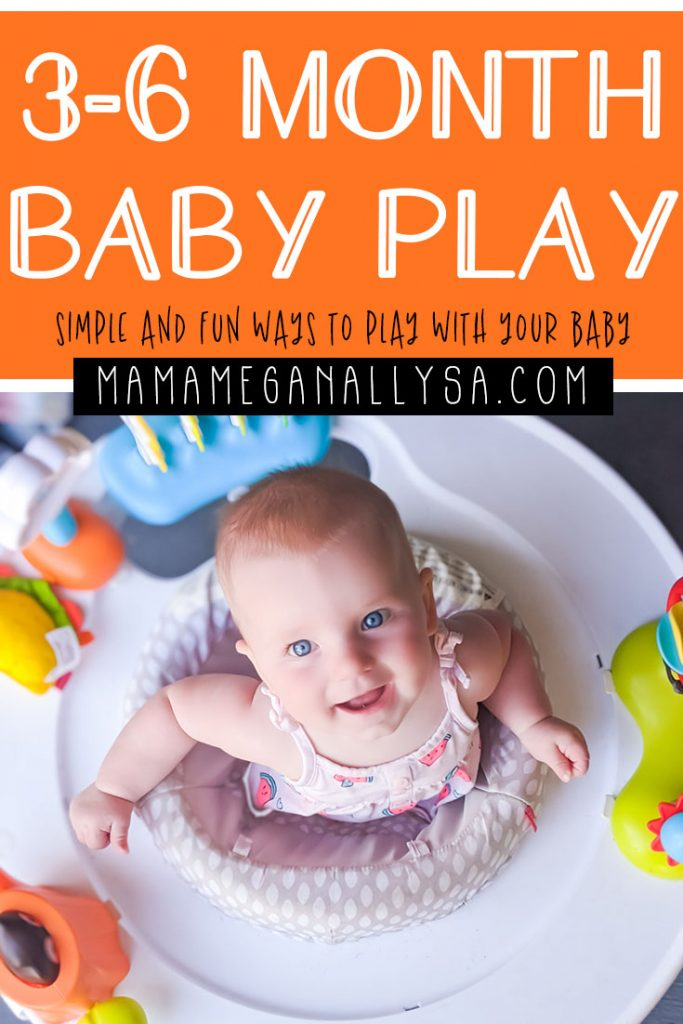 Fun baby activities for 3 - 6 month old playtime using lots of things you already have laying around your house for babies 3 - 6 months old. Invitations for each month that help support development and encourage growth to reach those milestones! #babyplay #3-6monthold #babyactivites #babyplaytime #invitationtoplay