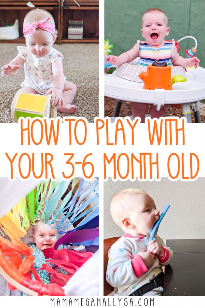 Finding baby activities that are the right development stage for your baby can be tricky. I have a list of 15 ideas broken down month by month for 3 - 6 month old playtime that not only will keep your baby happy they will support growth and development while your little babe is so busy growing! #babyplay #3-6monthold #babyactivites #babyplaytime #invitationtoplay