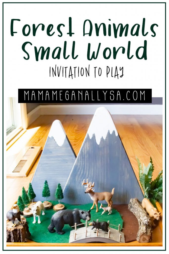 Small World Play doesn't have to be super complicated or take up a massive amount of space. A few animals, some little loose parts and plants are all you really need. I like to add some playmats and wooden backdrops to further set the stage. You can check out how I built a forest small world here