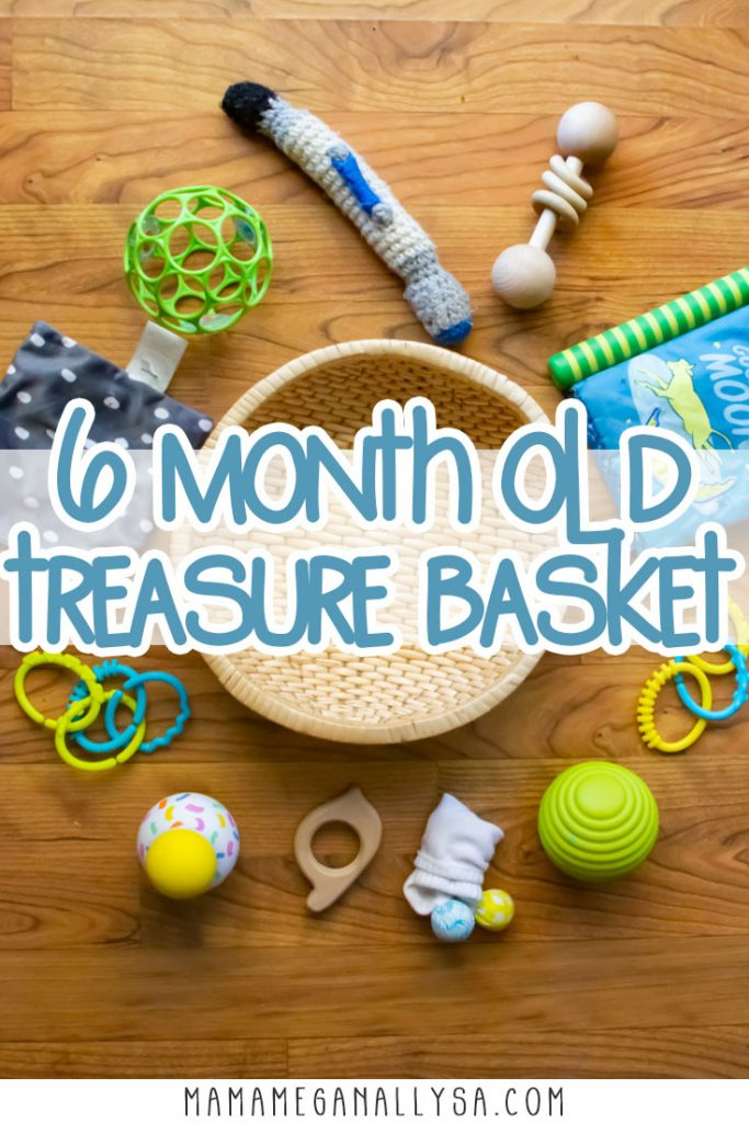 A treasure basket is a wonderful first invitation to play often found in Montessori spaces for your baby. It's a simple basket filled with items that are simply there for the baby to discover and explore!