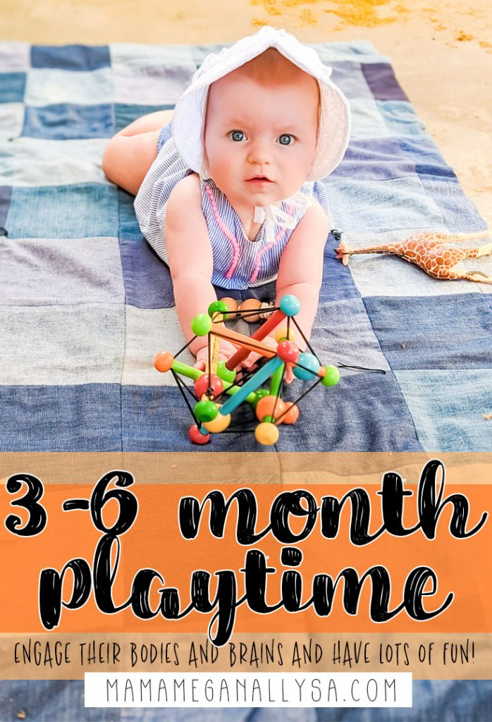 Lots of fun invitations to play and favorite baby toys for the 3 - 6 month old playtime. Supporting gross motor development, stimulating the senses, and plenty of things to chew on to alleviate those teething pains! #babyplay #3-6monthold #babyactivites #babyplaytime #invitationtoplay
