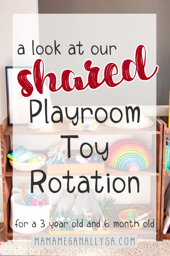 Our Toy rotations are going strong in our new shared playroom and especially now that I have a 6-month-old who is nearly crawling we have to have some options out for her as well as the toddler. By limiting the number of toys out, I am able to watch for choking hazards, and clean up time is a breeze for us all. Keeping us all safe and sane!