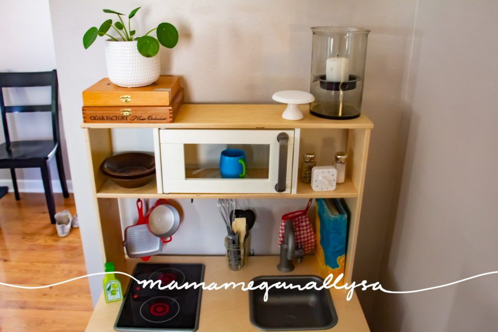 Never underestimate the power of a simple play kitchen as long as you have a few good accessories to make it feel real.
