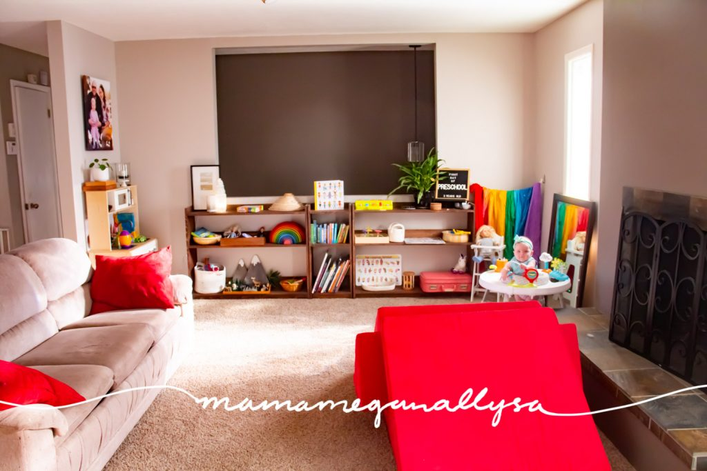 If you've been following my shelfie journey for a while, you already know what a huge fan of toy rotation I am. By simply limiting the number of toys on the shelf you can see more focused playtime and less mess to clean up. That's a win-win in my books! I wanted to share our set up now in our new shared playroom now that bean is 6 months old and Bitty is 3 years old.